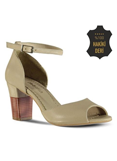 Marjin % 100 Deri Topuklu Ayakkabı Bej